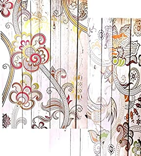 Bellaa 3-Panel Canvas Room Divider Screen, 48 by 71-Inch, Mix Color