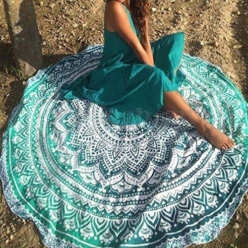 NANDNANDINI TEXTILE - India Mandala Ronda Roundie Beach Tapiz Tapa Hippy Boho Gypsy Toalla de algodón Toalla de playa, Round Yoga Mat, hoja de playa de 180 cm o 72 pulgadas ronda