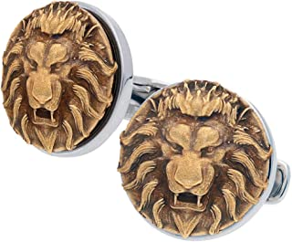 IBG Americana Sterling Silver and Bronze Lion Head Cuff Links