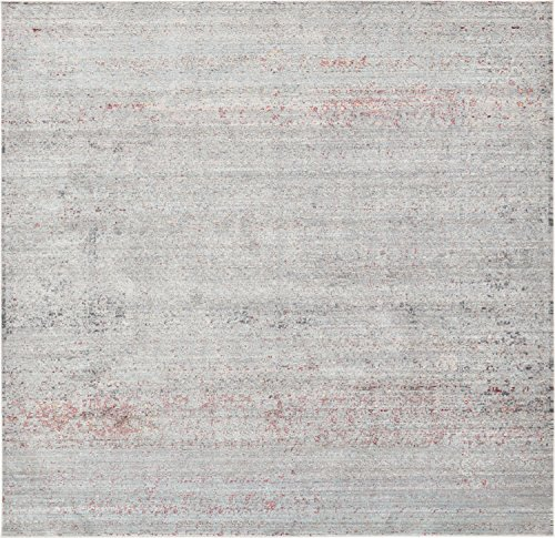 Unique Loom Austin Collection Casual Vintage Over-Dyed Gray Square Rug (8' 0 x 8' 0)
