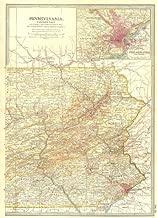 Pennsylvania East, Philadelphia. Shows Gettysburg & 1777 Battles/Dates - 1903 - Old map - Antique map - Vintage map - Printed maps of Pennsylvania