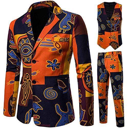 DAY8 Abito Uomo Vestito Uomo Completo Elegante Slim Fit Taglie Forti Invernale Cerimonia 3 Pezzi Cappotto Giacca Blazer + Gilet + Pantaloni Set per Affari Casual Etnico Vintage (Arancione, XL)