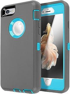 Funda para iPhone 6, iPhone 6S [resistente] AICase protector de pantalla integrado resistente 3 en 1 resistente a prueba d...