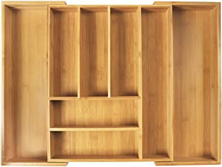 LASUAVY Kitchen Silverware Drawer Organizer, Bamboo Expandable Utensil and Cutlery Drawer Organizer Kitchen Cutlery Tray