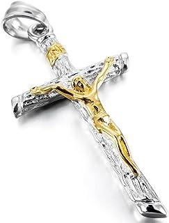 MunkiMix Acciaio Inossidabile Pendente Ciondolo Collana Jesus Gesù Cristo Crocifisso Croce Uomo,Catenina Lunga 58 cm Inclusa