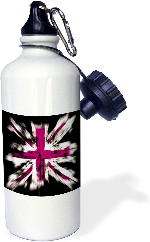 3dpink wb_77067_1  Pink British Explosion  Sports Water Bottle, 21 oz, White