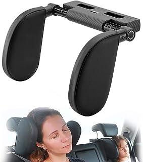 Hopeas Auto Kopfstütze für Kinder Erwachsene, Kissen Nackenstütze Autositz Verstellbar (Kohlefaser Gittermuster Schwarz)