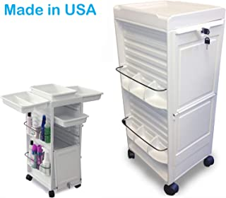 N20E-P R Salon SPA Aesthetician Roll-About Facial Cart Trolley White Lockable Made in USA by Dina Meri