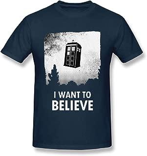 Ashmak Mens GreatLong I Want to Believe Who T-Shirt Men Tardis Dalek Dr Time Cool T-Shirt Navy