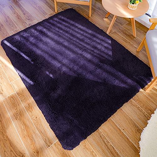 Tappeto peluche LNGVBF, soffice tappeto, zerbino, morbido tappeto antiscivolo, tappeto per camera da letto, adatto per la decorazione domestica di soggiorno e camera da letto (viola, 80x120cm)…