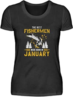 "Camiseta de manga corta para mujer con texto en alemán ""Januar Angler Geburtstag"""