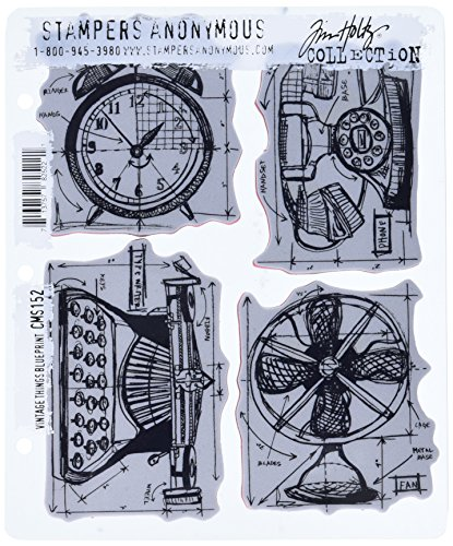 Stampers Anonymous Tim Holtz Cling Rubber Stamp Set, 7 by 8.5-Inch, Vintage Things Blueprint