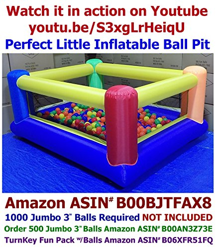 My Bouncer Perfect Little Ball Pit - Great for Indoor Use - 84' L x 72' W x 40' H w/ Blower Pump (This is not a Bounce House, 1000 Jumbo 3' Balls Required Not Included )