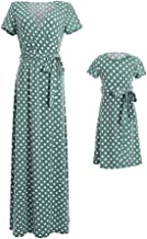 PopReal Mommy and Me Dresses Vintage Polka Dot V Neck Side Opening Maxi Matching Outfits with Belt