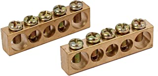uxcell 5 Positions Electric Wire Screw Terminal Ground Copper Neutral Bar 2pcs