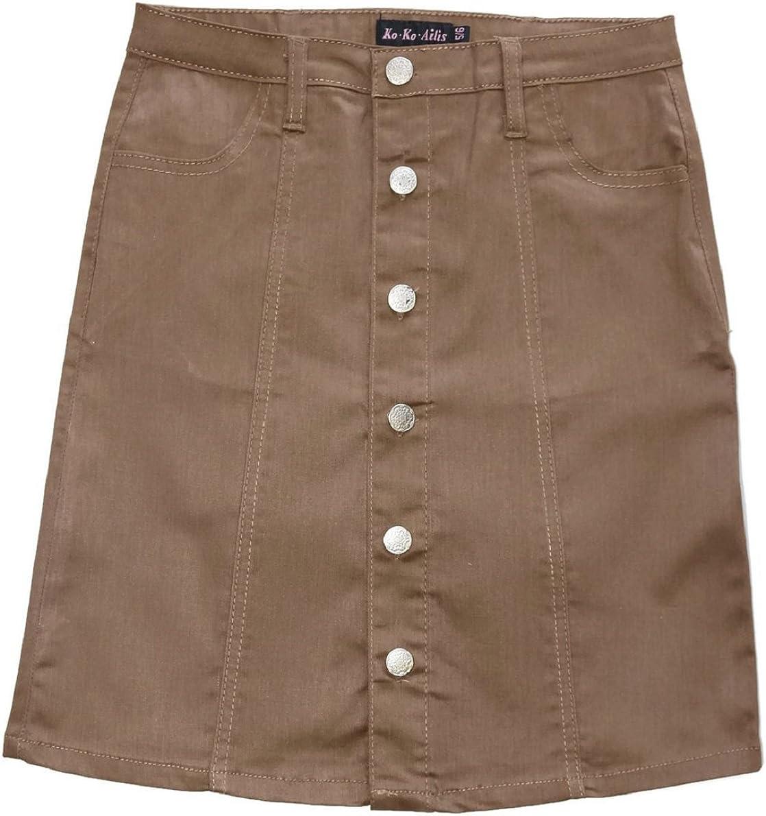 FGR Ko Ko Ailis Womens Stretch Twill Button Flare Skirt with Side Pocket