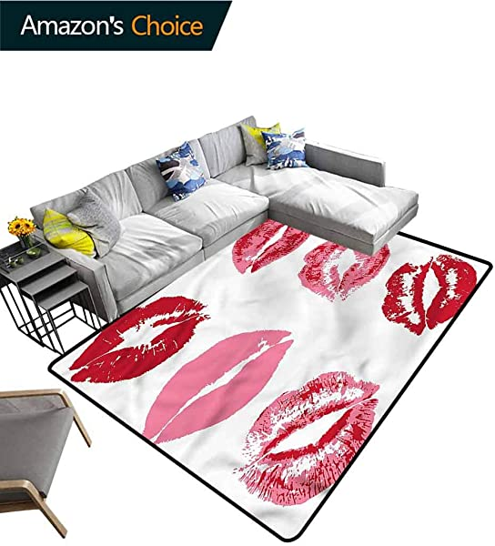 TableCoversHome Kiss Print Area Rug Underlay Faded Looking Kissess Worn Pattern Printing Door Mat Durable Rugs Living Dinning Office Rooms Bedrrom Hallway Carpet 6 X 9