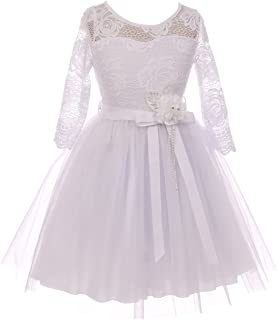 BNY Corner Floral Lace Top Tulle Flower Holiday Party Flower Girl Dress USA
