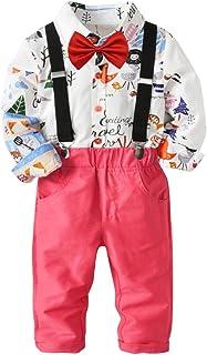 Baby Boys Fashion Gentleman Pants Clothing Set Long Sleeves Shirt+Suspender Colorful Pants+Bow Tie Toddler 4Pcs Set