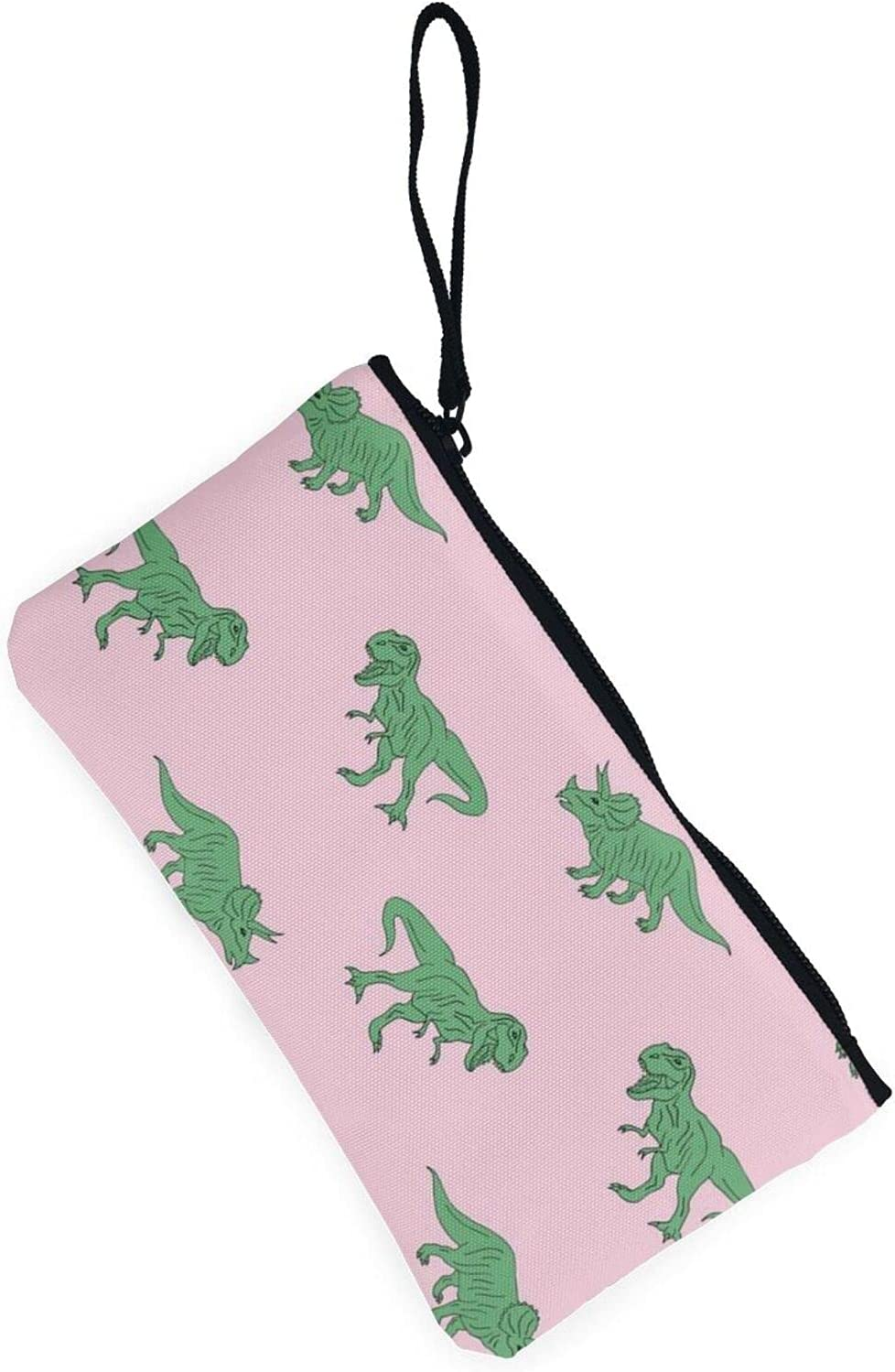 AORRUAM Pink background with dinos Canvas Coin Purse,Canvas Zipper Pencil Cases,Canvas Change Purse Pouch Mini Wallet Coin Bag