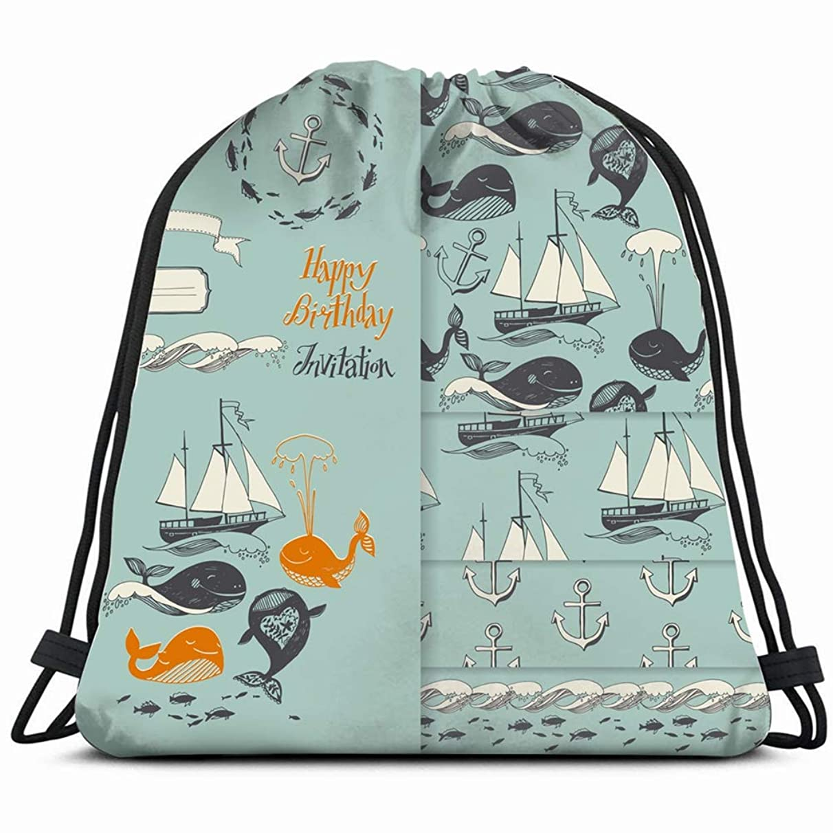 marine motifs yachts funny whales animals wildlife baby transportation Drawstring Backpack Gym Sack Lightweight Bag Water Resistant Gym Backpack for Women&Men for Sports,Travelling,Hiking,Camping,Shop