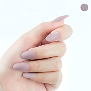 MISUD Ballet Fake Nails Nude Pink Matte Scrub Medium Pure Color Press-on False Nails Kits - Gentle Lady