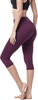 LAPASA Women's Yoga Capri Pants Running Yoga Pants Wide Waistband Sports Pants Hidden Pocket L02