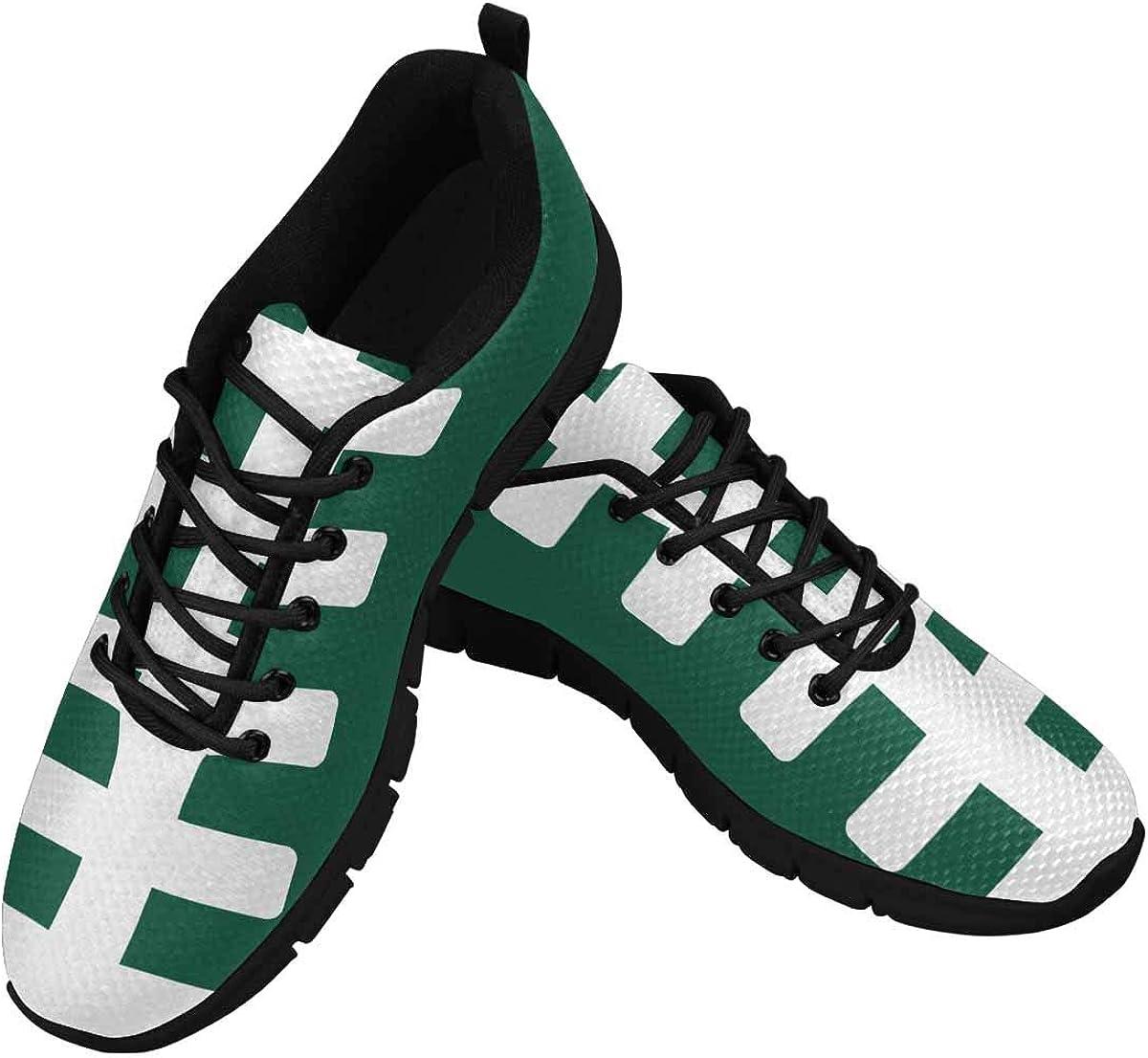 INTERESTPRINT American Football Field Sports Green Women's Breathable Non Slip Sneakers