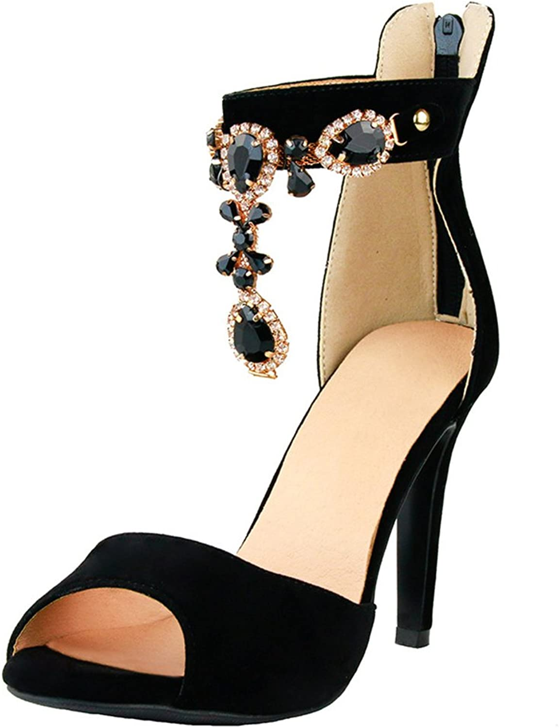 Women's Rhinestone Black Gem Fish Mouth Sandals Girls Classic Elegant Party Heels