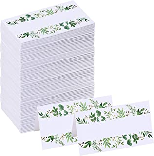 SUPLA 100 Pcs Greenery Wedding Table Setting Name Place Cards Watercolor Floral Eucalyptus Escort Cards Party Tented Cards Guest Seating Cards Buffet Cards Folded Cards for Christmas Dinner Birthday
