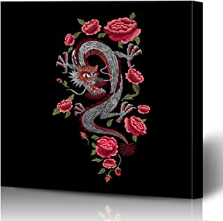 Onete Canvas Prints Painting Artwork 16x16 Eastern Botanical Chinese Red Dragon Satin Roses Traditional Leaf Stylish Animals Wildlife Nature Wall Art Printing Home Bedroom Living Room Office Dorm