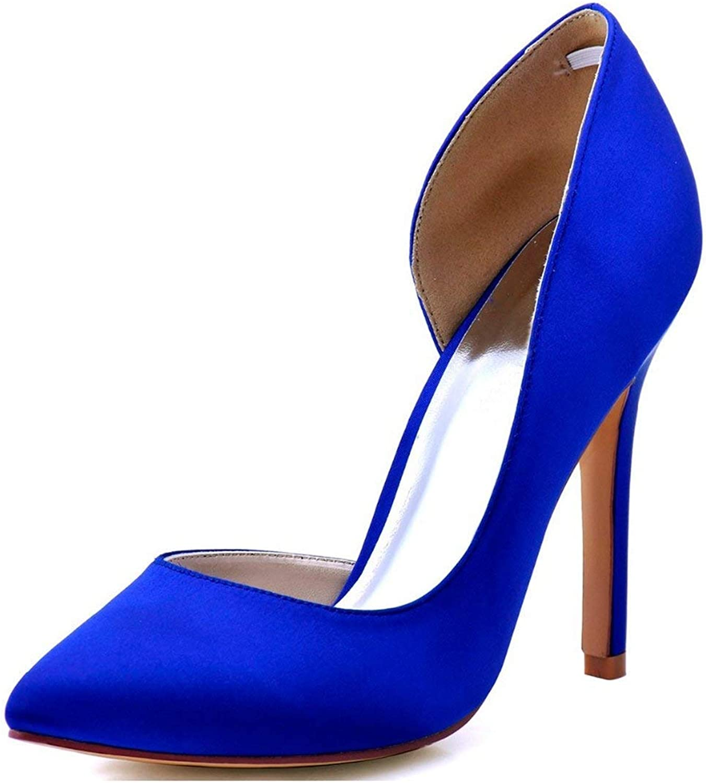 Qiusa Damen Mandel Toe D'Orsay Blau Satin Braut Hochzeit Formale Partei Schuhe UK 2.5 (Farbe   -, Größe   -)  | Spielzeugwelt, fröhlicher Ozean