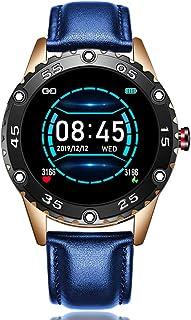 KYLN Reloj Inteligente de Cuero Hombre Reloj Inteligente de Cuero Deporte para iPhone Presión Arterial Ritmo cardíaco Rastreador de Ejercicios Reloj Inteligente