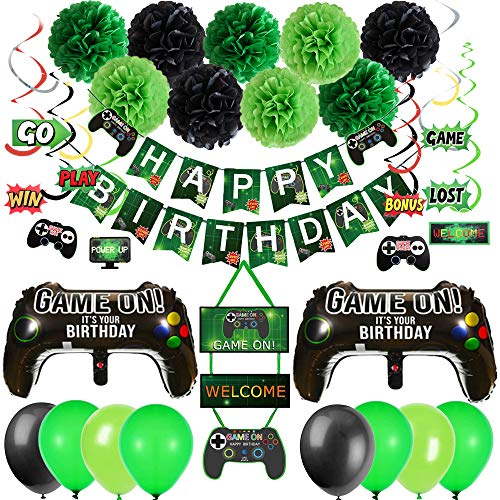 Video Game Birthday Party DecorationsHappy Birthday BannerPom Poms FlowersHanging SwirlsGame Controller BalloonBlack Green Balloons Garland for Gamer Themed Party Supplies