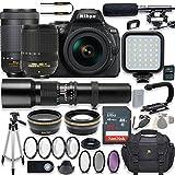 Nikon D5600 24.2 MP DSLR Camera Video Kit with AF-S 18-140mm VR Lens, AF-P 70-300mm ED VR Lens & 500mm Lens + LED Light + 32GB Memory + Filters + Macros + Deluxe Bag + Professional Accessories