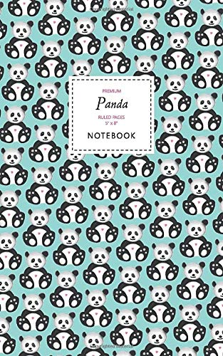 Panda Notebook - Ruled Pages - 5x8 - Premium Cuaderno (Sky Blue)
