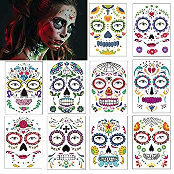 Day of the Dead Tattoos Halloween Face Decorations Stickers Temporary Tattoos Sugar Skull Web Roses Spider Face Makeup Decals for Men Women Kids Halloween Party Favor Supplies 10 Pack