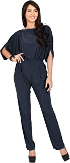 KOH KOH Womens Short Sleeve Sexy Semi Formal Cocktail One Piece Jumpsuit Romper