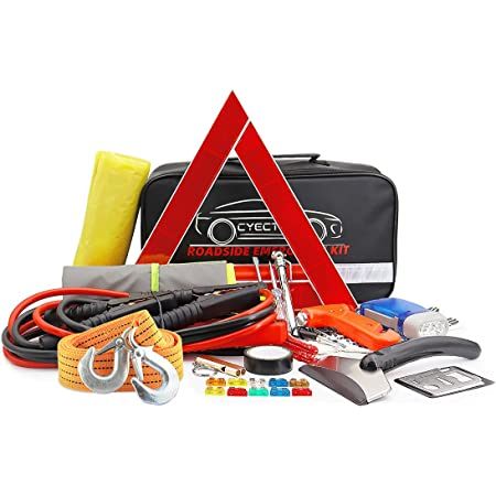 CYECTTR Car Emergency Kit with Jumper Cables,Safety Hammer,Tire Pressure Gauge - Auto Vehicle Safety Road Side Assistance Kits - Winter Car Kit for Women and Men