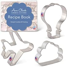 Ann Clark Cookie Cutters 3-Piece Air Travel Cookie Cutter Set with Recipe Booklet, Airplane, Cloud and Hot Air Balloon