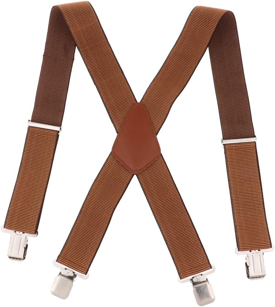 Colcolo Men Suspenders Width 5 Cm in The Shape of X, Belt with 4 Elastic Buckles And
