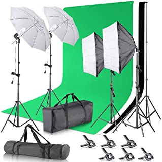 LDGHO 2.6M x 3M/8.5ft x 10ft Background Support System and 5500K Umbrellas Softbox Continuous Lighting Kit for Photo Studio Product,Portrait and Video Shoot Photography (Suit1)