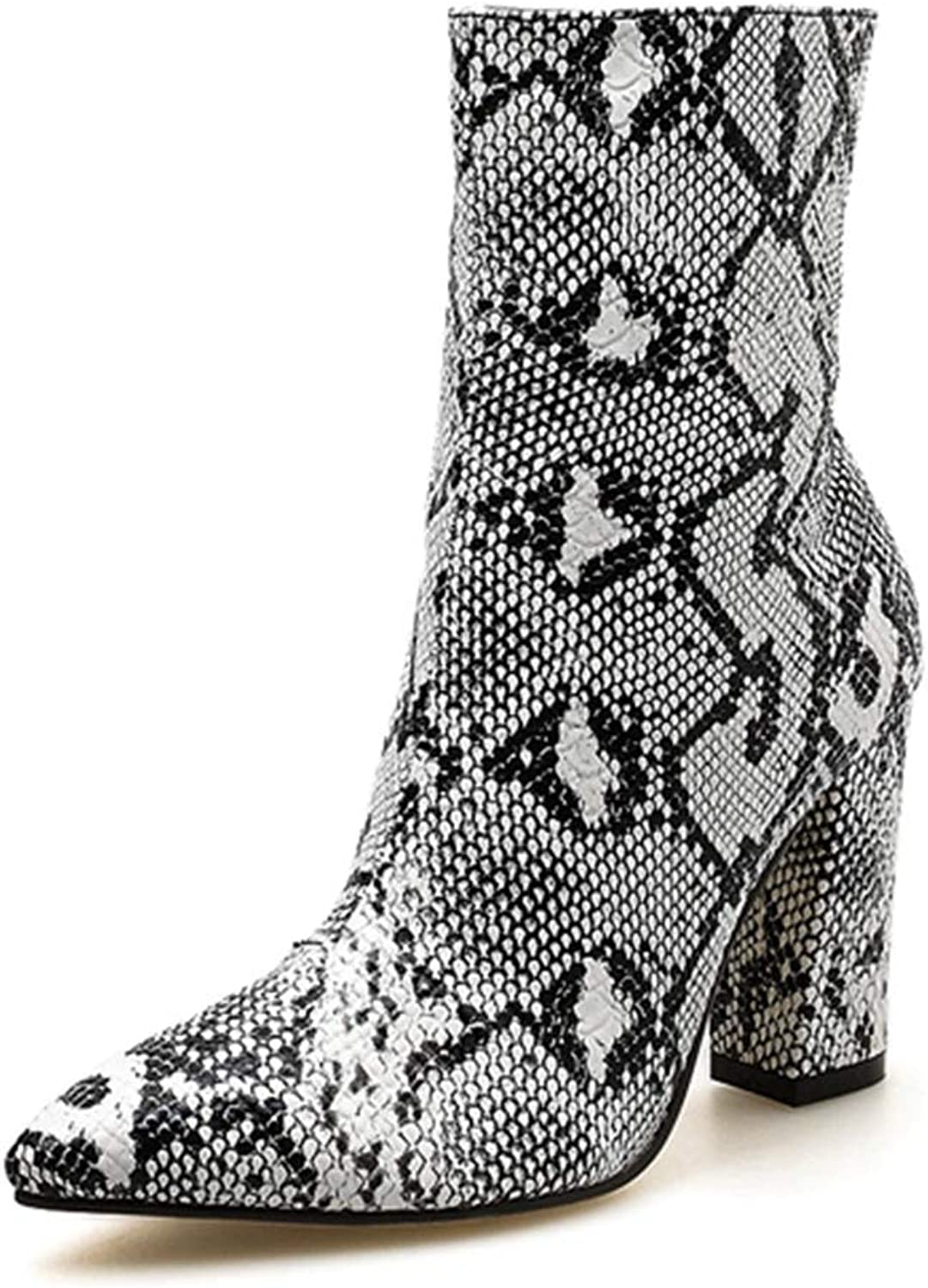 CYBLING Women Sexy Ankle Boots Snakeskin Pattern Chunky High Heel Pointed Toe Short Booties
