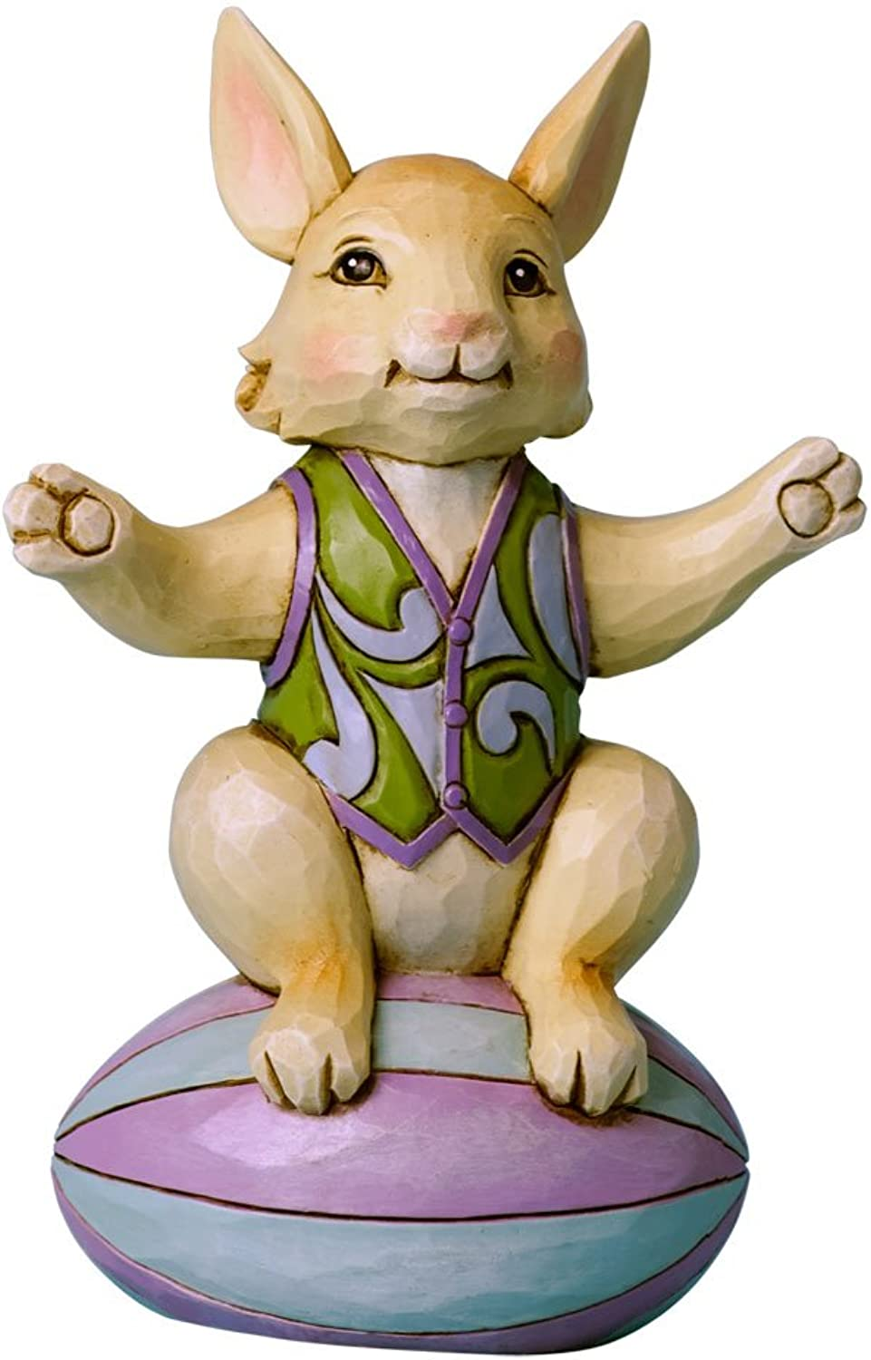 Enesco Jim Shore Heartwood Creek Mini Bunny On Easter Egg Figurine, 4Inch