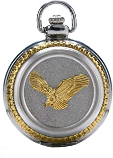 Vintage 3D Train Eagle Quartz Pocket Watch Roman Numberal with Chain Cool Watches