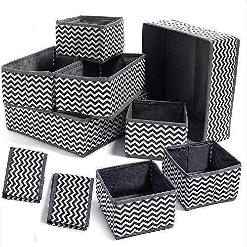 Evance 10 Cajas Organizador de cajones Tela organizadores Almacenamiento Plegable para Sujetadores Bragas Calcetines Gris (10 PCS)