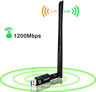 USB WiFi Adapter 1200Mbps,USB 3.0 Wireless Network WiFi Dongle with 5dBi Antenna for PC Desktop Laptop Mac, Dual Band 2.4G...