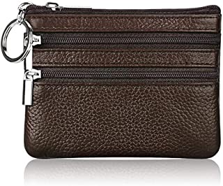 ETIAL Womens Genuine Leather Zip Mini Coin Purse w/Key Ring