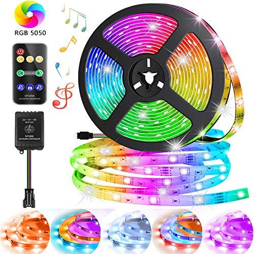 Striscia LED 5M RGB, 5050 SMD Impermeabile LED Strisce, 12V Luci Nastro LED Multicolore 20 Colori di Cambio, Kit Completo Alimentatore e Telecomando LED Strip per Illuminazione Casa, Bar, Decorazioni