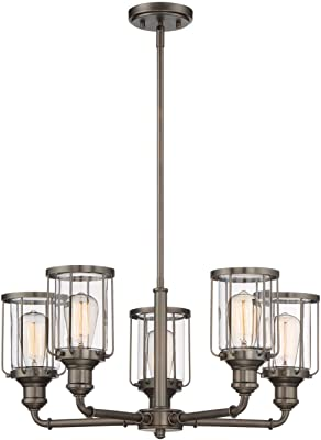 Glass Shade Material Wet Safety Rating 2700K Color Temp 13W Max. 900 Rated Lumens Bronze Finish G9 Frost Xenon Bulb Clear//Frosted Glass Maxim 22345CLFTBZ Bayview 5-Light Chandelier